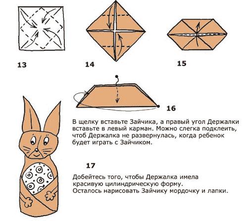Поделки из бумаги наше оригами с ножницами.